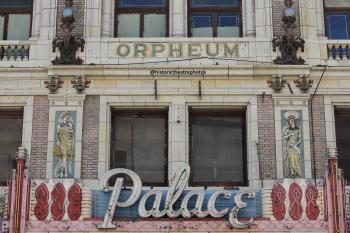 Facade showing Orpheum lettering