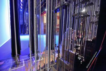 Stage from behind Counterweight fly lines